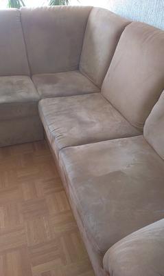 Kotna sedežna garnitura PRED globinskim čiščenjem